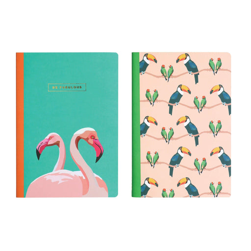 Be Fabulous Flamingo, Toucan and Love Birds Set of 2 Emily Brooks Notebooks Notebook Love EB2035 Notebook Love