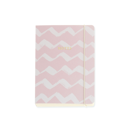 Candy Pink with White Zigzag A6 Chunky Notebook with Elastic Notebook Love 6PN420 Notebook Love