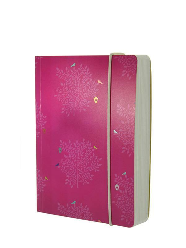 Cerise Trees and Bird Box Chunky A6 Notebook with Elastic Notebook Love 6PNC202 Notebook Love