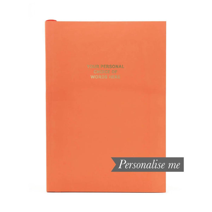 Colourblock A5 Personalised Notebook - Vivid Coral Go Stationery CBA5NBVC20P Notebook Love