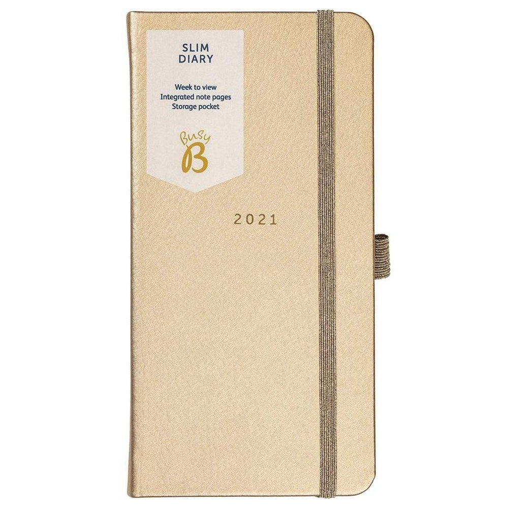 Gold Slim 2021 Diary by Busy B Notebook Love 2137 Notebook Love