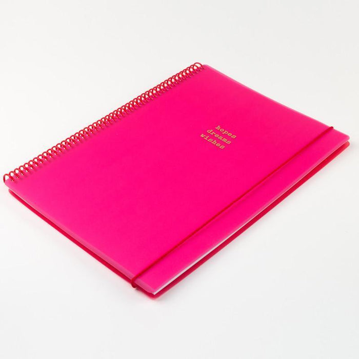 Hopes Dreams Wishes. Hot Pink Spiral A4 Notepad with Elastic Notebook Love 4WNCB1 Notebook Love