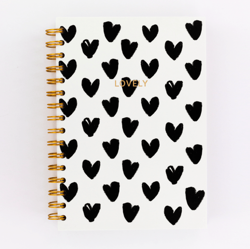 Lovely Monochrome Hearts Spiral A5 Notebook Notebook Love 5WN501 Notebook Love