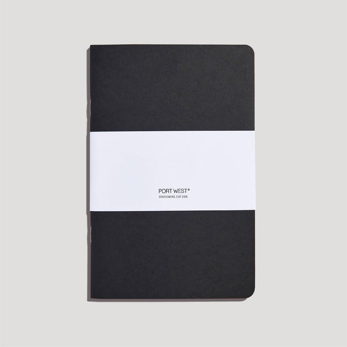 Port West (03) Notebook BLACK – FSC 100% Recycled Paper, Vegan-friendly Natural Dyes, Made in the UK Port West Stationers Notebook Love