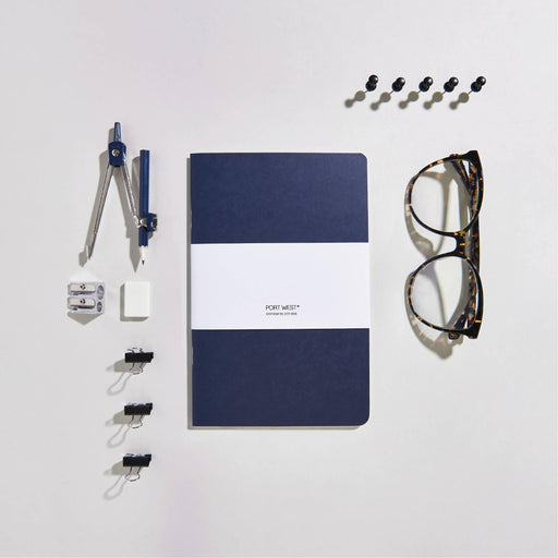 Port West (03) Notebook BLUE – FSC 100% Recycled Paper, Vegan-friendly Natural Dyes, Made in the UK Port West Stationers Notebook Love