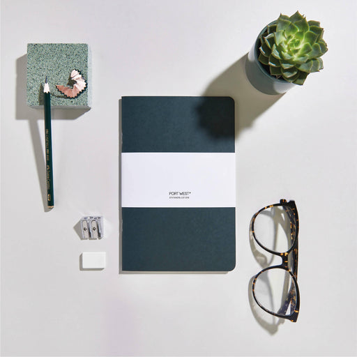 Port West (03) Notebook GREEN – FSC 100% Recycled Paper, Vegan-friendly Natural Dyes, Made in the UK Port West Stationers Notebook Love