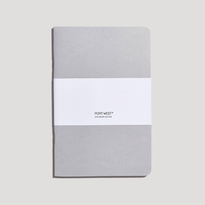 Port West (03) Notebook GREY – FSC 100% Recycled Paper, Vegan-friendly Natural Dyes, Made in the UK Port West Stationers Notebook Love
