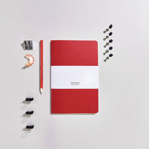 Port West (03) Notebook RED – FSC 100% Recycled Paper, Vegan-friendly Natural Dyes, Made in the UK Port West Stationers Notebook Love