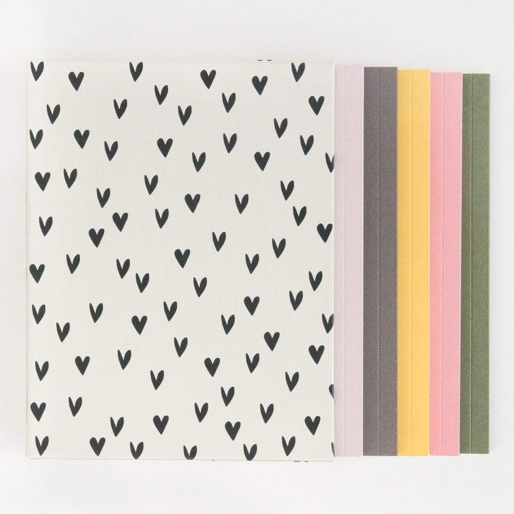 Scattered Hearts Boxed Set of 5 Notebooks. Goals, Doodles, Daydreams, Notes, Plans Notebook Love BNB100 Notebook Love