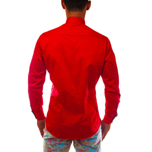Men Red Dress Shirt