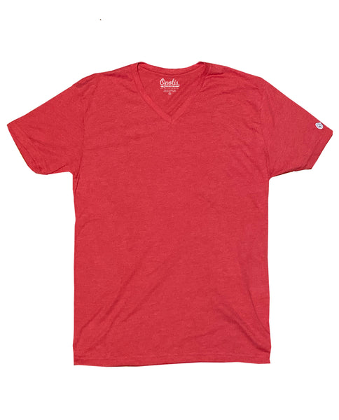 Red Triblend Classic V Neck