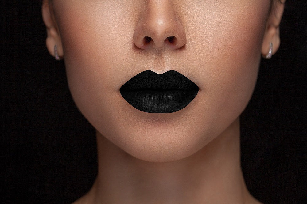 Midnight Black - Waterproof, smudge proof,  transfer proof,  and 24 hour stay BLACK Matte Liquid lipstick - Glamorous Chicks Cosmetics