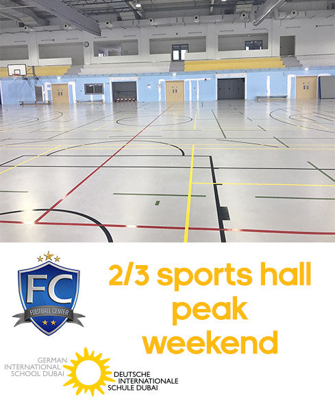 2/3 Sports Hall at German School Dubai (Weekend Peak: 9:00AM-12:00AM)