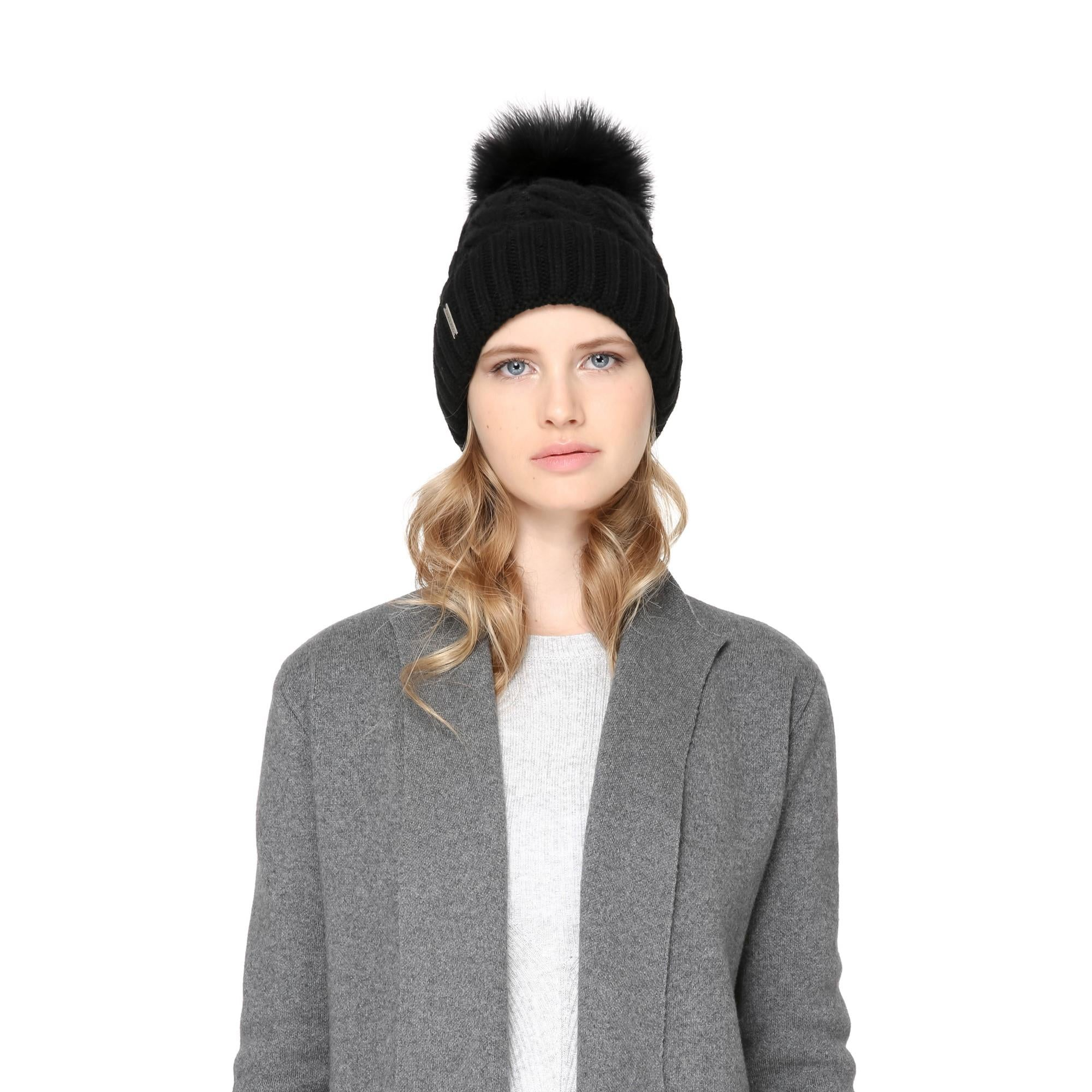 4fc6f6121ea Amalie T Knit Hat with Removable Feather Pom Pom (Black). Previous  Next