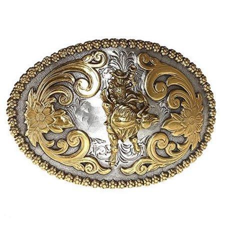 Buckle Silver Oval with Gold Bull Rider