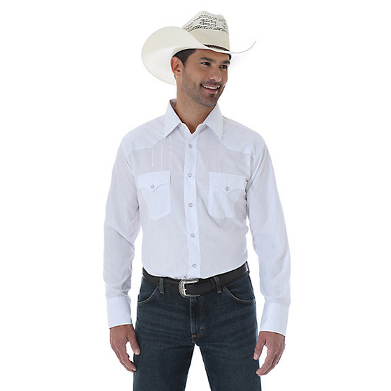 Wrangler Men's White Silver Dobby Thread White Shirt