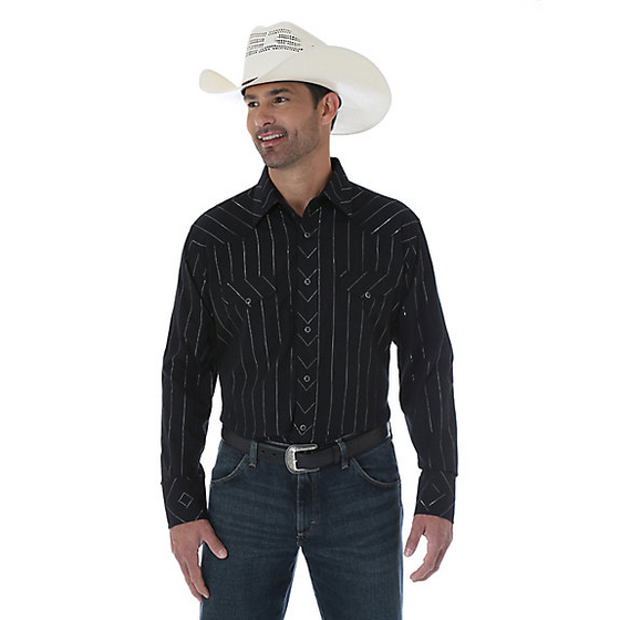 Wrangler Men's Black Silver Dobby Thread Shirt