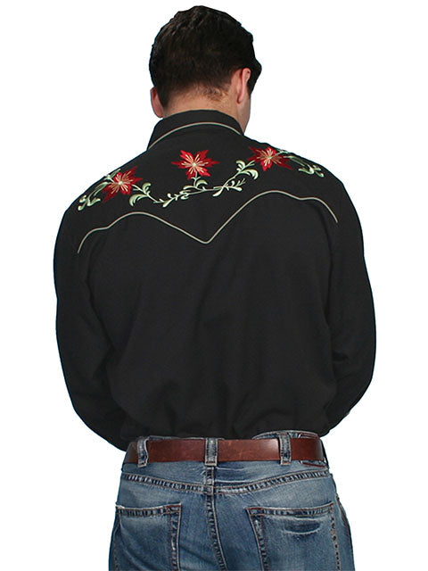 Scully Men's Floral Embroidery Shirt