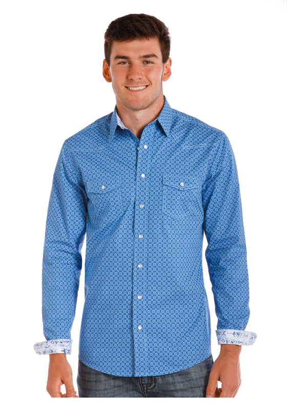 Panhandle Men's Blue Dobby Print R8S5013
