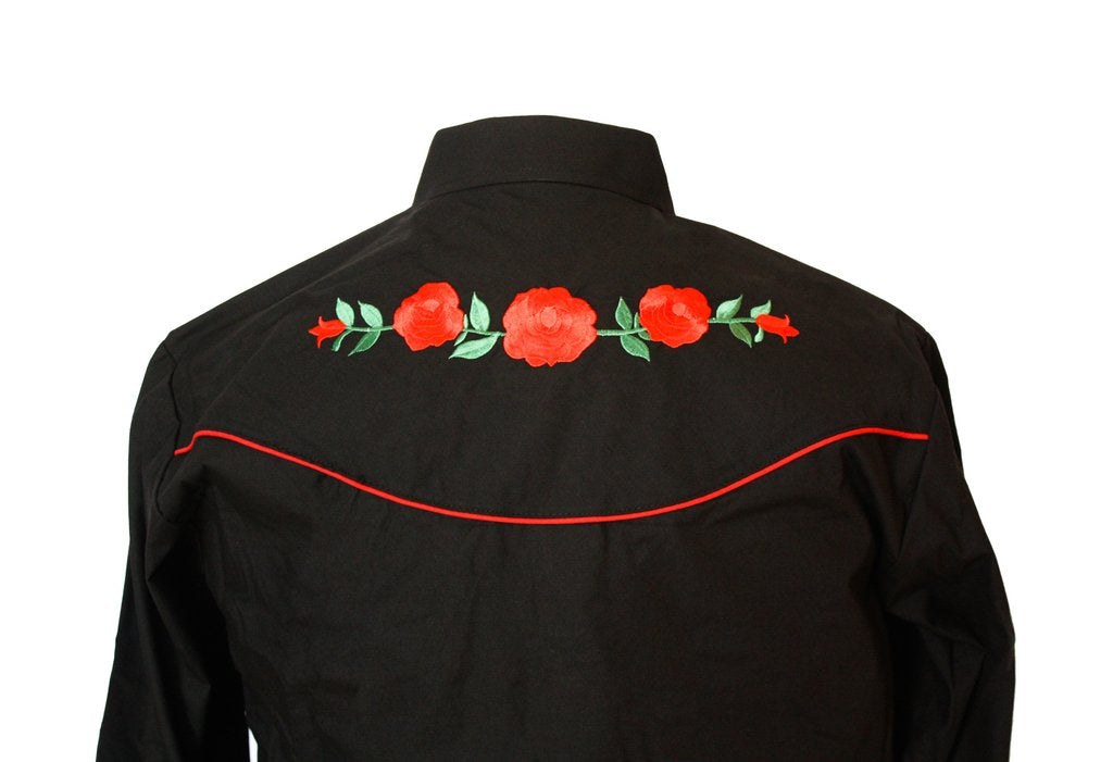 Ely Cattleman Men's Black Embroidered Rose Western Shirt