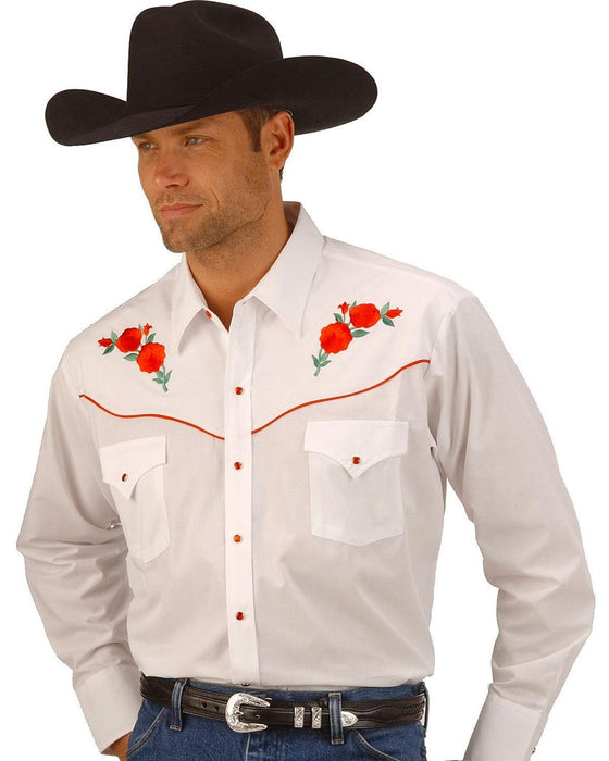 Ely Cattleman Men's White Embroidered Rose Design Western Shirt