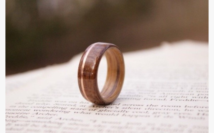 Teak Wood Ring From The USS NC With Whiskey Barrel Liner