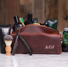 Personalized Leather Dopp Bag