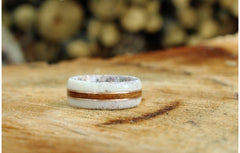 Wooden Ring with Elk Antler