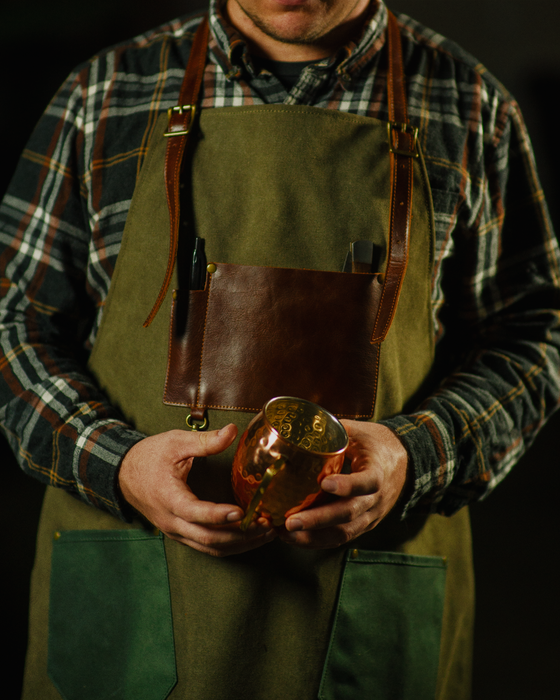 Leather And Waxed Canvas Apron- Bartender | Barista | Craftsman Apron