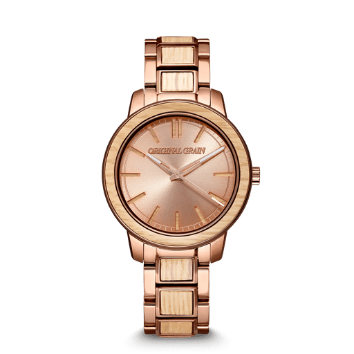 Whiskey Rose Gold Womens Barrel 36mm by Original Grain