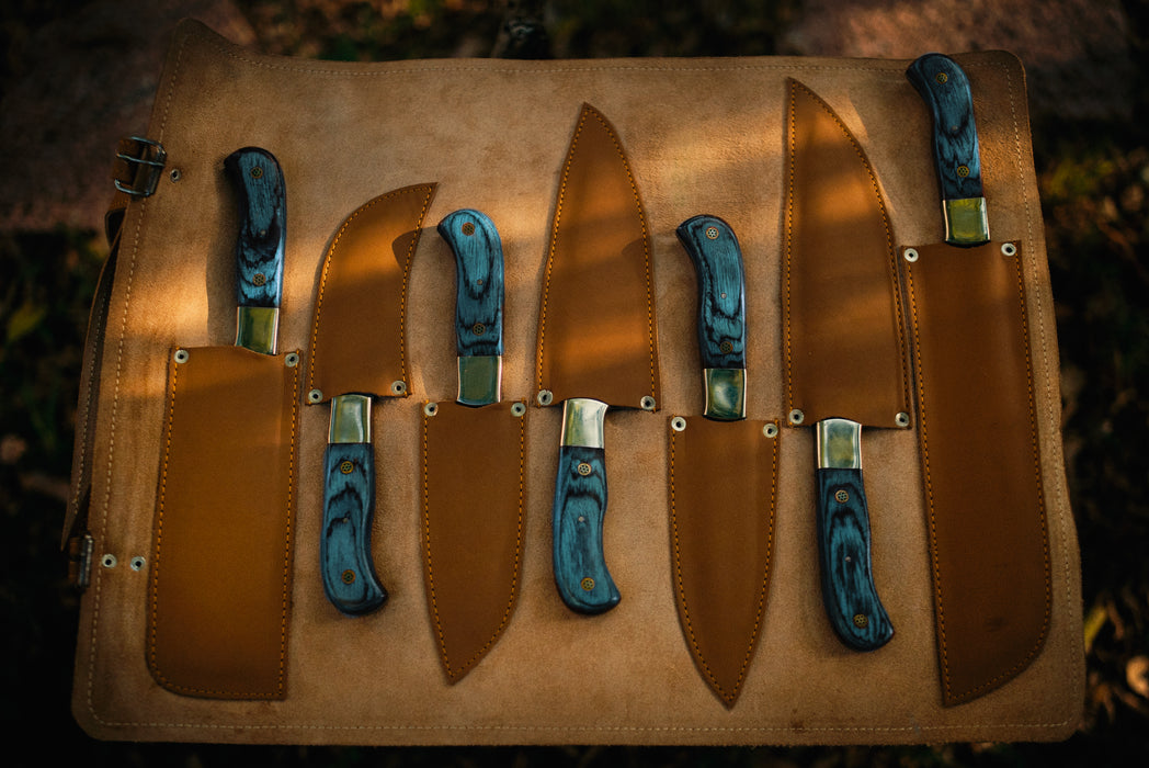 chef knife set with leather roll