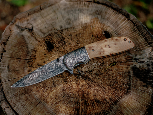 burl wood linerlock pocket knife