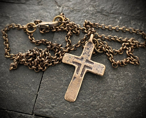 Brass Cross Pendant And Necklace
