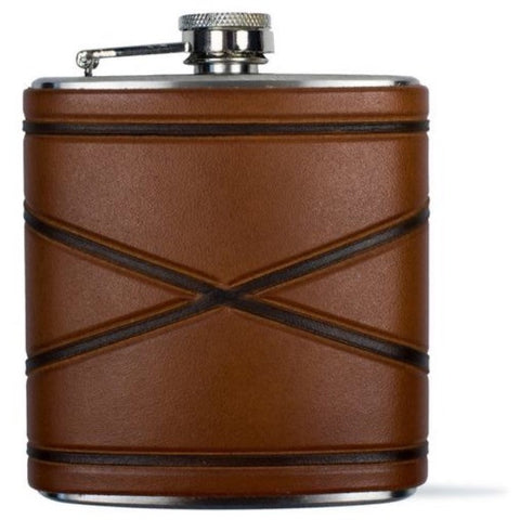 Crossed Borders Leather Flask- Tactile Craftworks