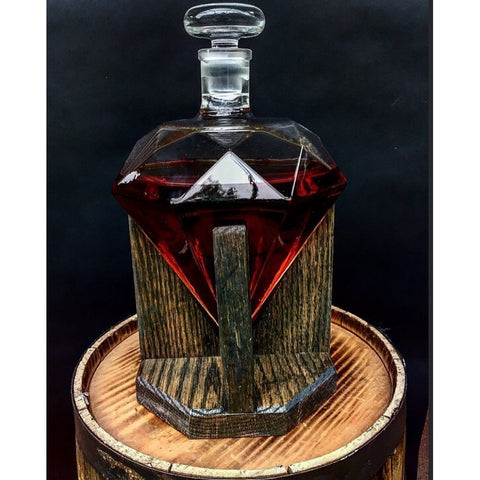 Diamond Shaped Decanter With Wooden Base- Free Shipping