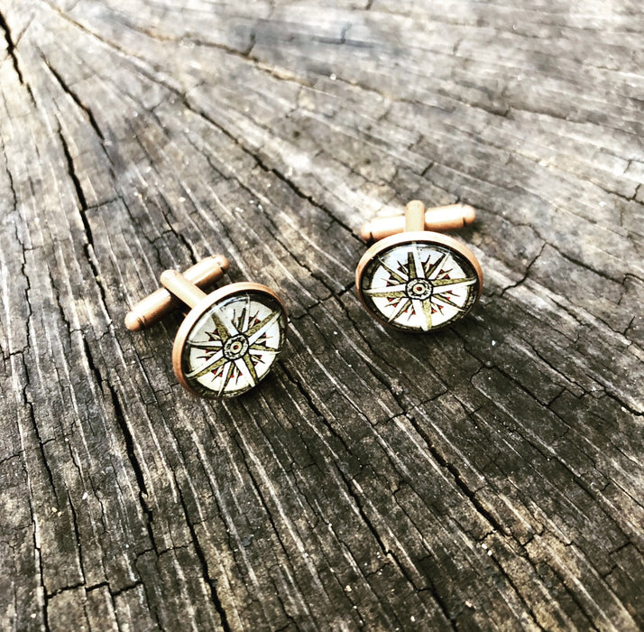 old world compass cufflinks