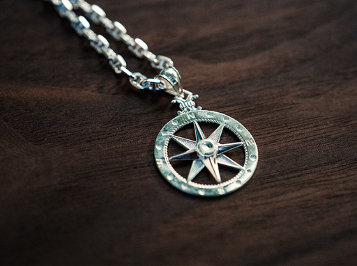 mens compass rose pendant