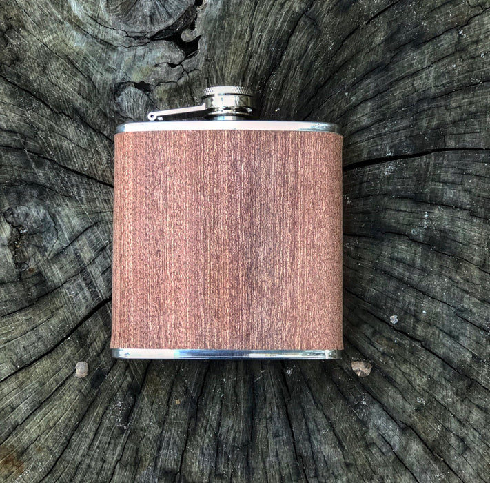Sapele Wood Wrapped Flask- 6 oz