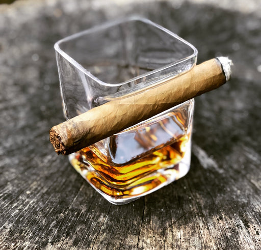 whiskey glass and cigar holder