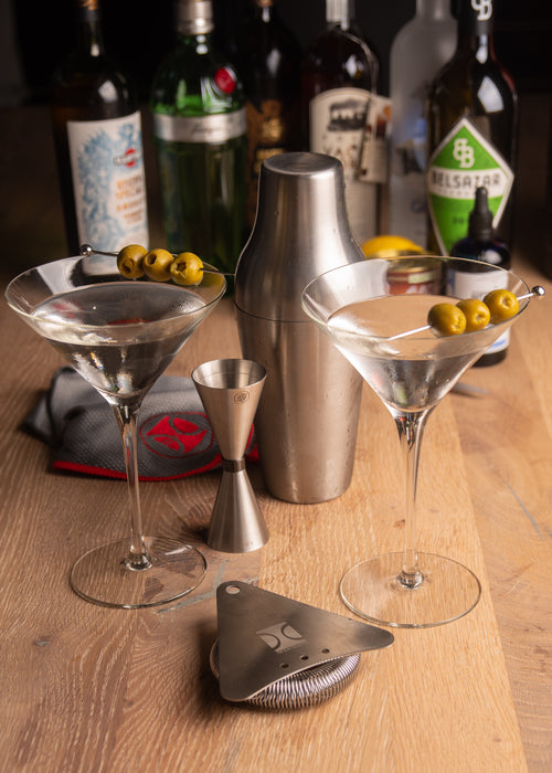 """Shake It Up"" Bar Tool Set With Two Martini Glasses"