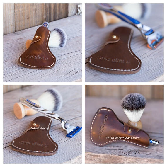 Leather Modern Razor Holder