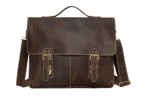 Vintage Dark Brown Leather Messenger Bag