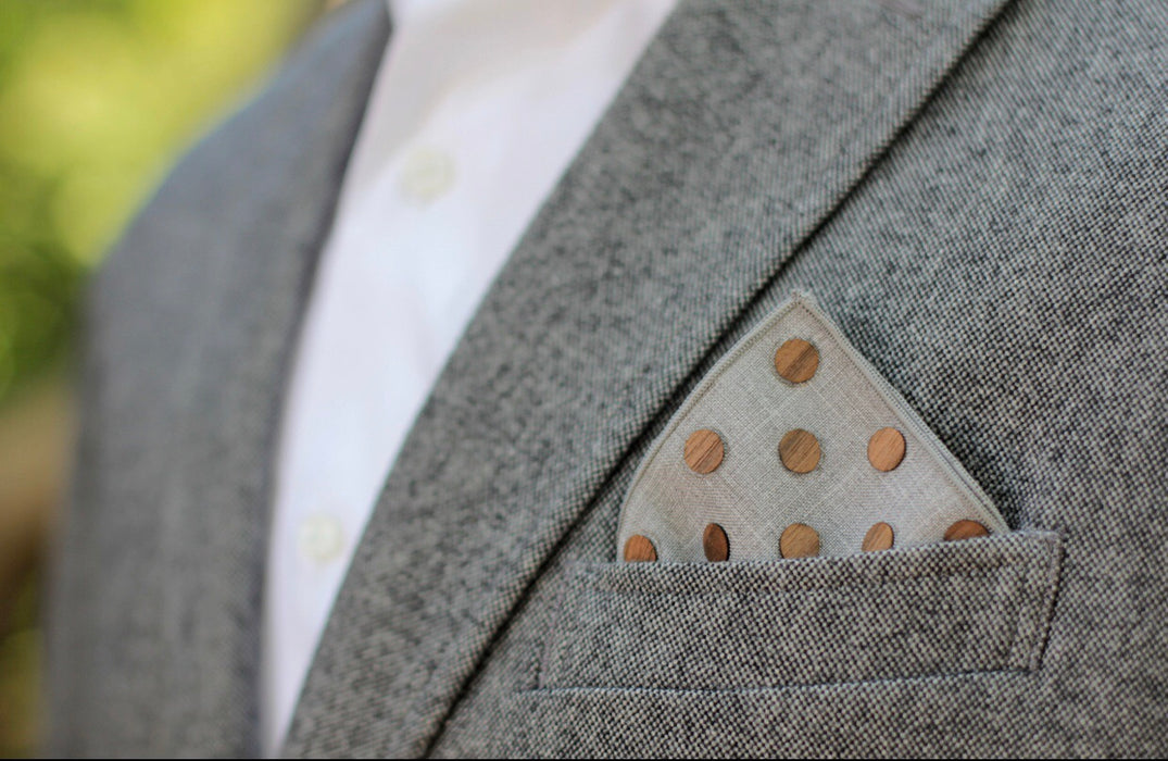 Pocket Square- Walnut Dot Gray