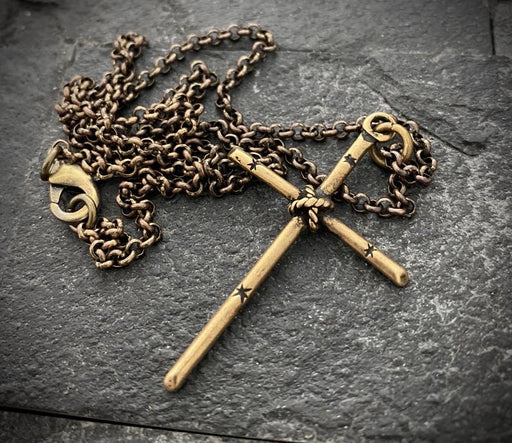 brass cross necklace