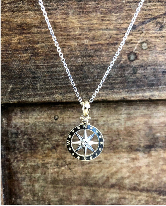 Women's 14kt Rose/White Gold Compass Rose Pendant