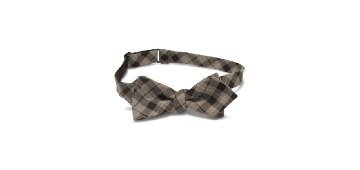 Black/Heather Gray Tartan Bow Tie
