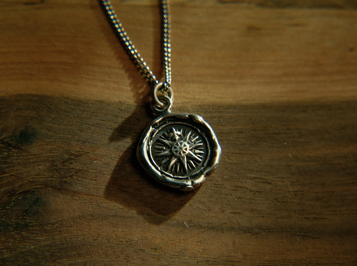 compass rose direction silver talisman