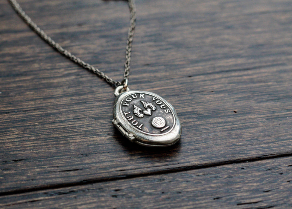 Reclaimed Silver Locket Talisman - Pyrrha