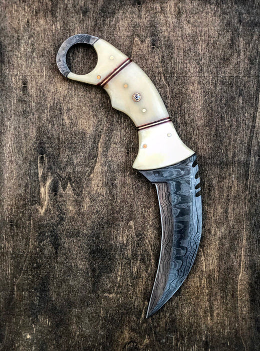 Damascus Steel Karambit Knife VG 1
