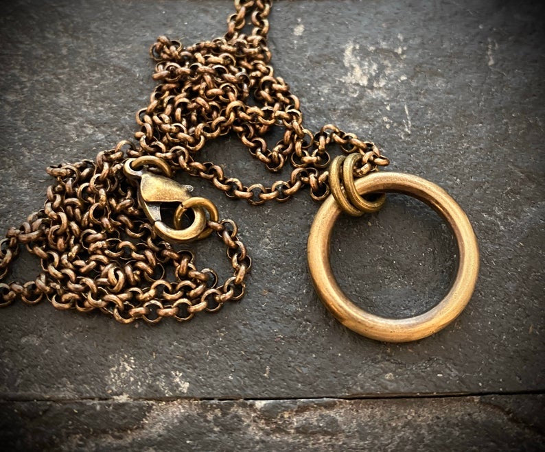 Brass Link Chain Necklace And Eternity Circle Pendant